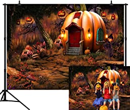 CapiSco 7X5FT Halloween Backdrop Vinyl Background Photography Halloween Fairy Tale Forest Theme Pumpkin House Scarecrow Background for Baby Child Halloween Party Halloween Photo Backdrop SCO108A
