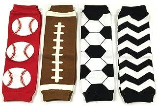 Wrapables Colorful Baby Leg Warmers Set of 4, Baseball, Football, Soccer, Black Chevron