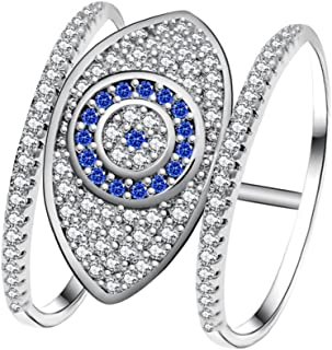 Uloveido Blue Evil Eye Rings for Women Cubic Zirconia Female Ring with an Eye Jewelry Gifts Y325