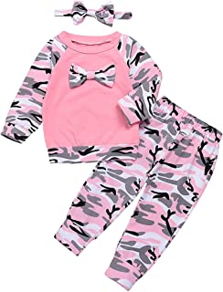 Baby Boys Girls Family Clothes Long Sleeve Camouflage Romper Outfit Pants Set +Headband