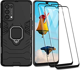 GOGME Case voor OPPO Find X3 Neo en 2 Screen Protector, 360 graden draaibare Ring Kickstand Shockproof Armor Cover, Silico...