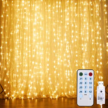 10ft Curtain Fairy Lights USB Party Wedding String Light Remote Control Feather