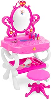 Best Choice Products Kids 2-in-1 Vanity Mirror and 18-Key Keyboard w/ Toy Hairdryer, Stool, Lights