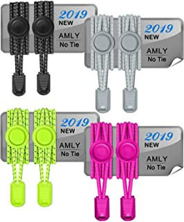 4 Pairs of Elastic No Tie Shoelaces, Upgraded Lock, Reflective Shoe Laces for Kids and Adults
