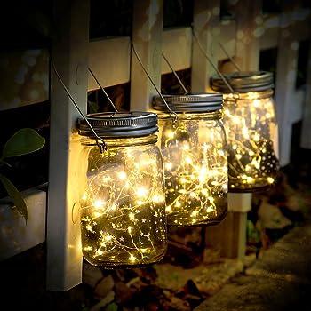 Lampada Solare, 3 Pezzi LanternedaEsterno con 30 LED Impermeabile Luce Solare, Illuminazione Lampada Solare per Interno Esterno Luminose Giardino Feste Camera e DecorazioniNatalizie