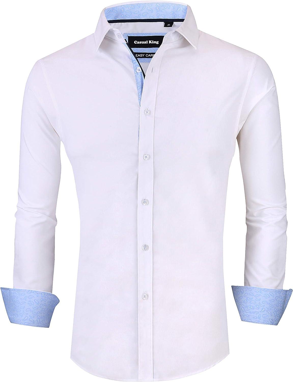 Casual King Mens Dress Shirts Wrinkle-Free Slim Fit Long Sleeve Fashion Men Shirt