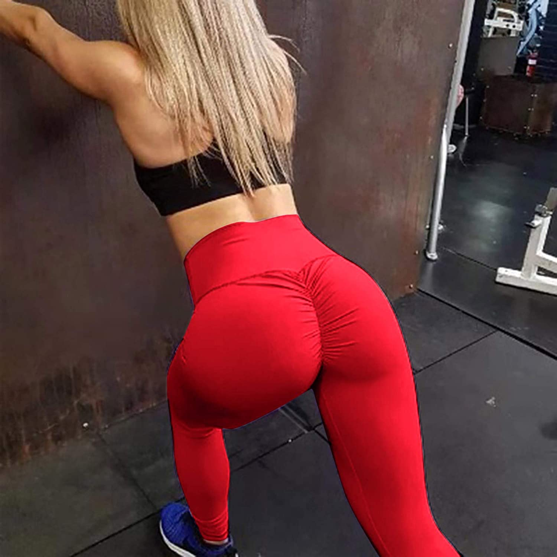 GUzhuha Womens High Waist Yoga Pants Tummy Control Butt Lifting Stretchy Workout Famous TIK Tok Leggings Slimming Tights