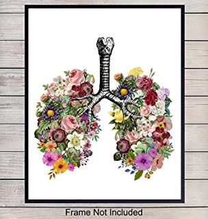 Vintage Lungs Wall Decor Picture Poster - Contemporary Modern Art, Room, Apartment, Home Decoration for Bedroom, Bathroom, Doctors Office, Medical Clinic - Gift for Nurse, PA, Dr, Physician - 8x10