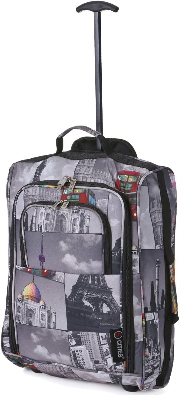 21//55cm Black Carry On Lightweight Cabin Trolley Bag Hand Luggage /… Cities