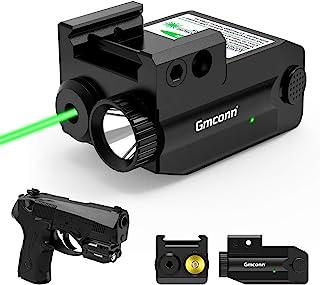 Pistol Laser Sight, 350 lm Gun Flashlight with Strobe Mode Green Sight for Handgun,Compact Rail Mount Tactical Flashlight,...