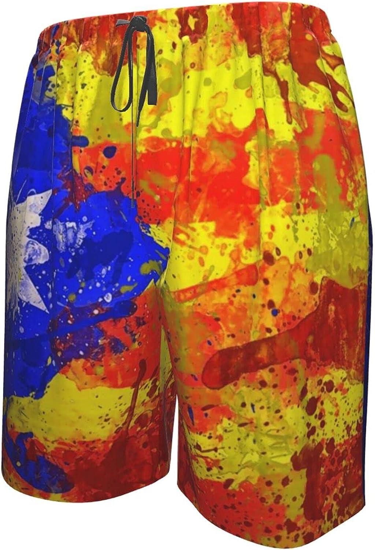 JINJUELS Men's Swim Shorts Catalonia Flag Beachwear Board Shorts Quick Dry Comfy Athletic Beach Short with Lining