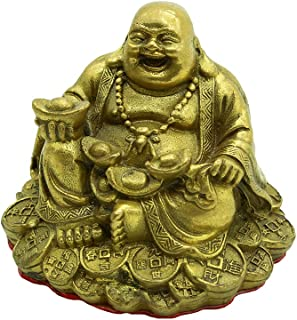 Fengshui Handmade Sitting Brass Laughing Buddha Statue Collectible Figurine Home Decor Gift