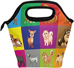 ALAZA Lunch Tote Bag Different Type Of Dogs In Colored Squares Insulated Cooler Thermal Reusable Bag, Dogs Puppy pattern Lunch Box Portable Handbag for Men Women Kids Boys Girls