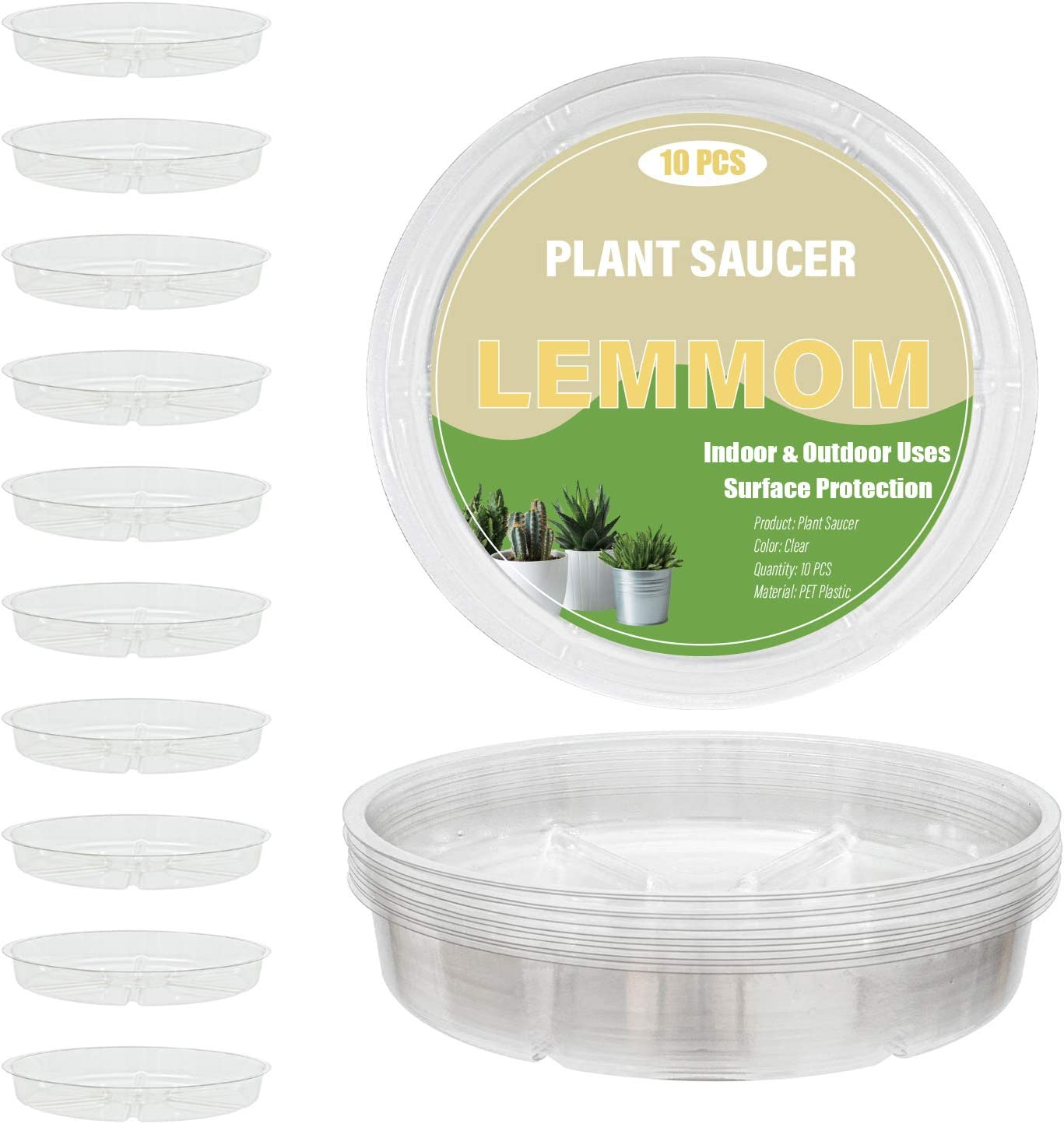 LEMMOM 10 Pieces 4-inch Clear Plastic Plant Saucer Indoor & Outdoor Garden Drip Tray for Pots (4'')
