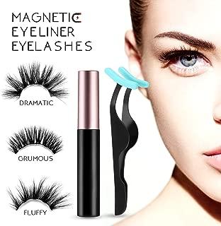 Magnetic Eyeliner and Lashes Kit-5D Mink Natural False Eyelashes -Fake Long Eyelashes No Glue-3 Pairs Pack