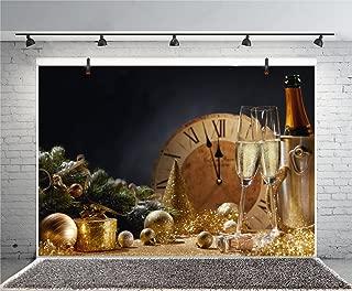 Leyiyi 10x8ft Photography Backdrop Merry Christmas Background Champaign Bucket Glass Clock Eve Midnight Happy New Year Glittering Spots Pine Branch Wallpaper Photo Portrait Vinyl Studio Video Prop