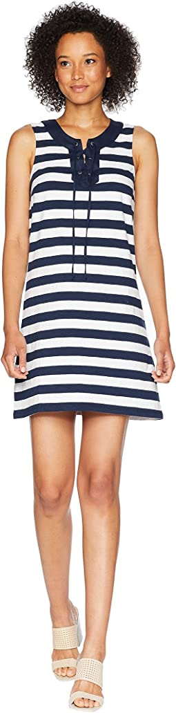 Stripe Right Sleeveless Tie Front Dress