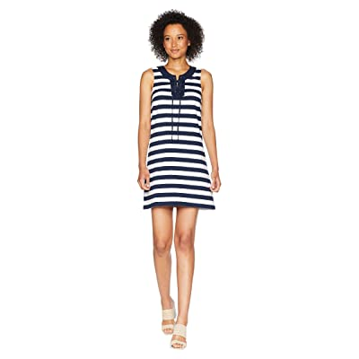 Tommy Bahama Stripe Right Sleeveless Tie Front Dress (Ocean Deep) Women
