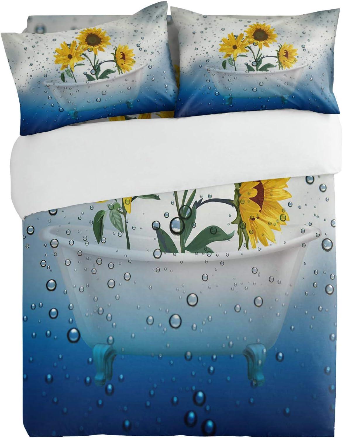 safety OneHoney Yellow Sunflower on Blue Super sale Bathtub Shower Waterdrop 4pcs