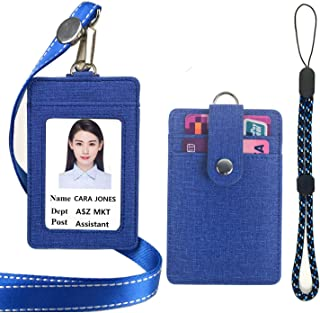 Lucstar ID Badge Holder with Lanyard,Handhold Cellphone Strap,2 Back Slots Security Snap, Durable PU Leather Linen Finish, Cute Design Card Holder for Women Men Work/Student ID Card(Blue)