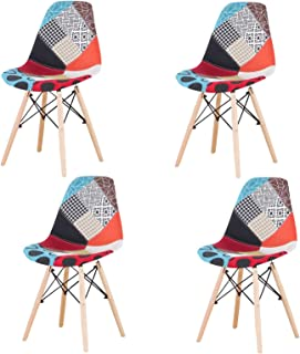 Sweethome - Juego de 4 sillas de comedor, diseño moderno para cocina, salón, dormitorio, café restaurante (rojo), color naranja
