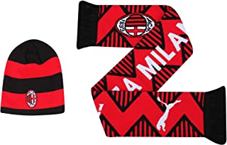AC Milan Official (Serie A) Winter Warmers Football Beanie Hat & Fans Scarf Set in Gift Box (100% Acrylic)