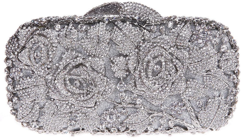 Bonjanvye Glitter Floral Clutch Purse for Girls Crystal Rhinestone Handbag