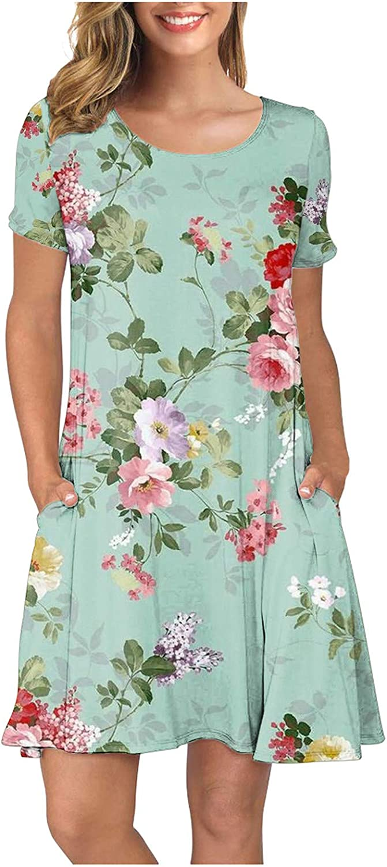 Store Women's Summer Casual Tshirt Dresses Beach Boho Be super welcome Short Sleeve Dre