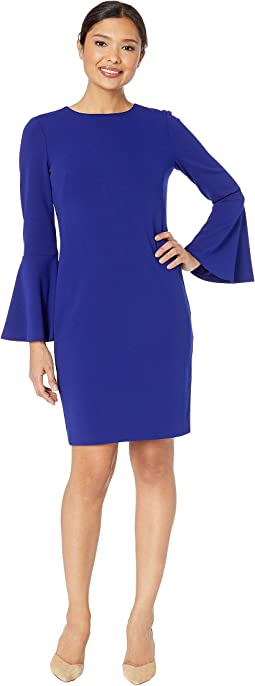 130H Luxe Tech Crepe Gomy Long Sleeve Day Dress