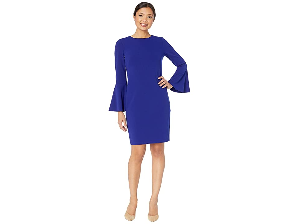 LAUREN Ralph Lauren 130H Luxe Tech Crepe Gomy Long Sleeve Day Dress (Cannes Blue) Women