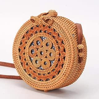 Sturdy PU Shoulder Strap Adjustable Length Bow Decoration Hollow Design Hand-Woven Vine Handbag Round Crossbody Handbag Fashion Beach Handbag Large Capacity (Color : Brown)