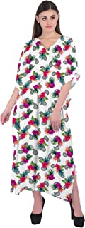 RADANYA Women's Floral Kaftan 3/4 Sleeve Summer Beachwear Cover Up Dress