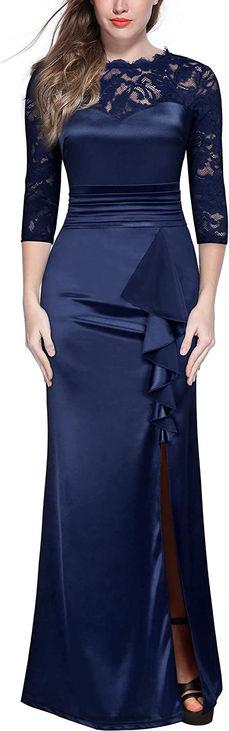 Miusol Women's Retro Lace Ruched Split Max Cheap mail order shopping Bridesmaid Style Side Direct sale of manufacturer