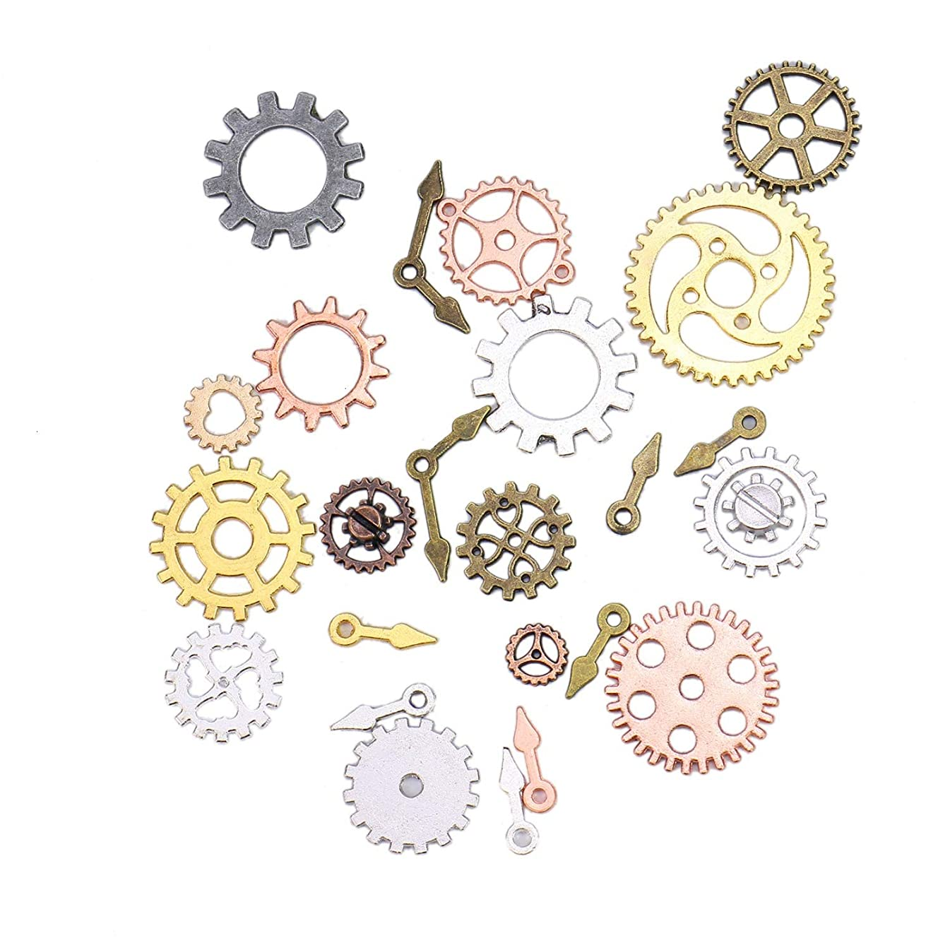 Monrocco 100 Gram Antique Metal Steampunk Gears Charms DIY Pendant Clock Watch Wheel Gear Cog for Jewelry Making