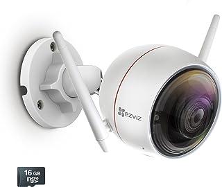 EZVIZ C3W / ezGuard 1080p – Câmera de segurança Wi-Fi sem fio com sistema de alarme ativado remoto e cartão microSD de 16 ...