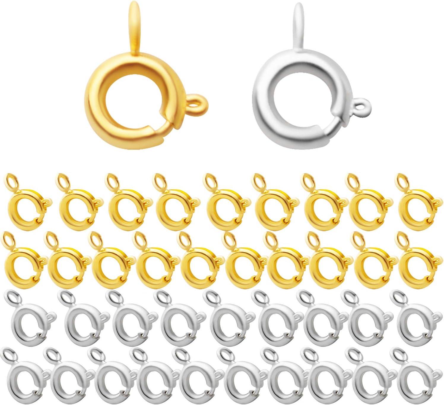 Aylifu 40pcs Spring Ring Clasp Open trend rank Jewe Denver Mall Brass Clasps Round