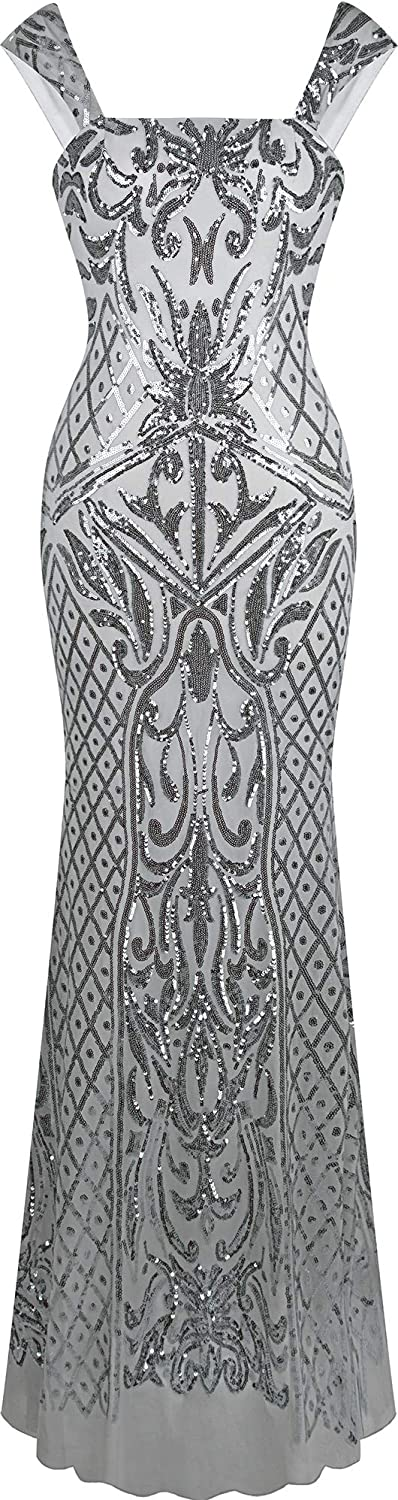 Angel-fashions 100% quality warranty! Women's Square Over item handling ☆ Collar Silver Floral Sequin Patter
