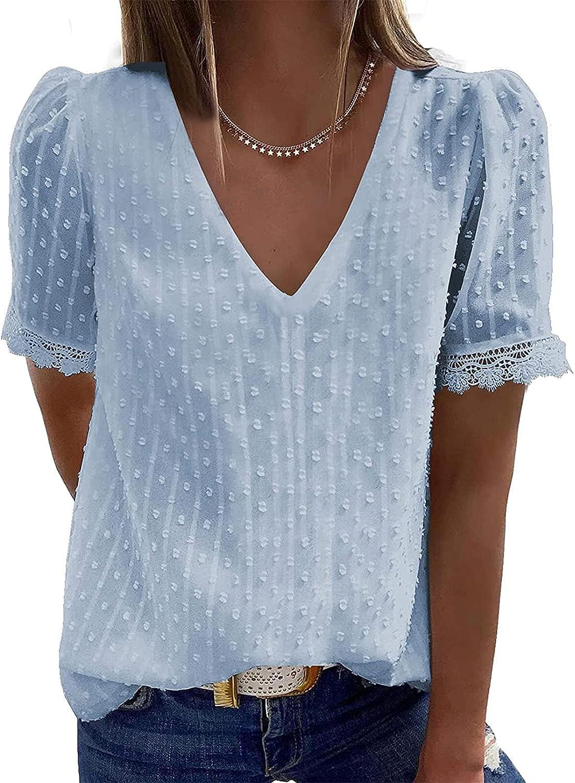 Women Fashion V Neck Blouses Elegant Work Tshirts Lace Crochet Tops Short Sleeve Tees Casual Dot Tunic