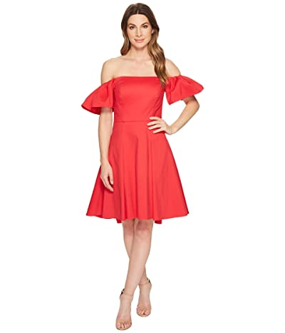 Halston Heritage Off Shoulder Flounce Sleeve Dress (Rose Red) Women
