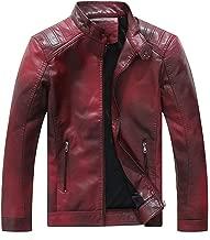 ebossy Men's Vintage Gradient Color Light-Fleece Lined Faux Leather Moto Jacket