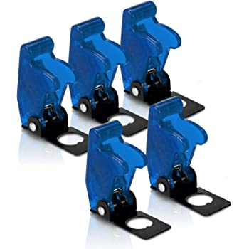 MGI SpeedWare Safety Flip Covers for Bat-Handle Toggle Switch 5-Pack (Blue)