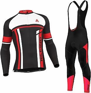 Men's Urban Cycling Team Red Thermal Winter Cycling Set Bundle, Long Sleeve & Tights