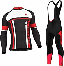 Men's Urban Cycling Team Red Thermal Winter Cycling Set Bundle, Long Sleeve & Tights