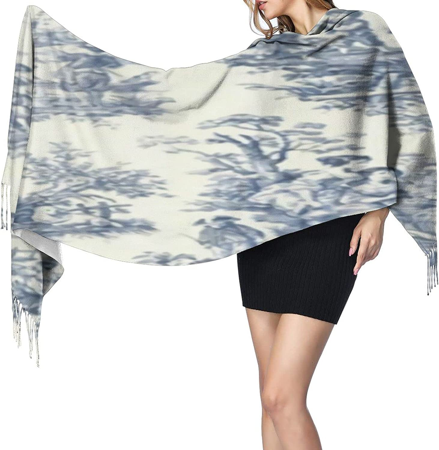 Cashmere fringed scarf Toile De Jouy Wallpaper winter extra large scarf