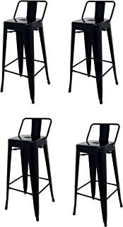 La Silla Española - Pack 4 Taburetes estilo Tolix con respaldo. Color Negro. Medidas 95x44,5x44,5