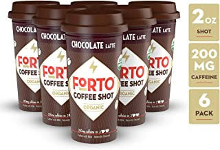 FORTO Coffee Shots - 200mg Caffeine, Chocolate Latte, Ready-to-Drink on the go, High Energy Cold Brew Coffee - Fast Coffee Energy Boost, Pack of 6