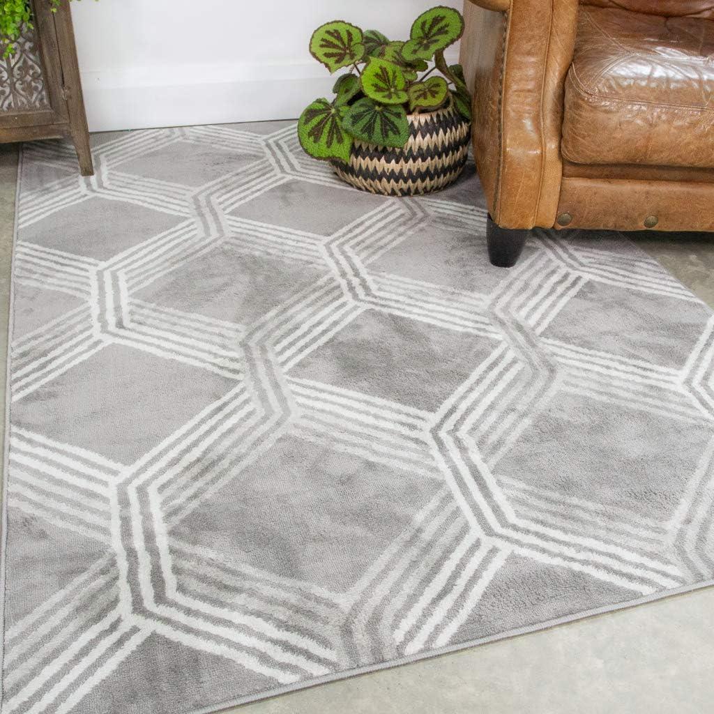 Gray 送料無料/新品 Geometric Trellis Rug Contemporary Aztec セール商品 Living Room Cream