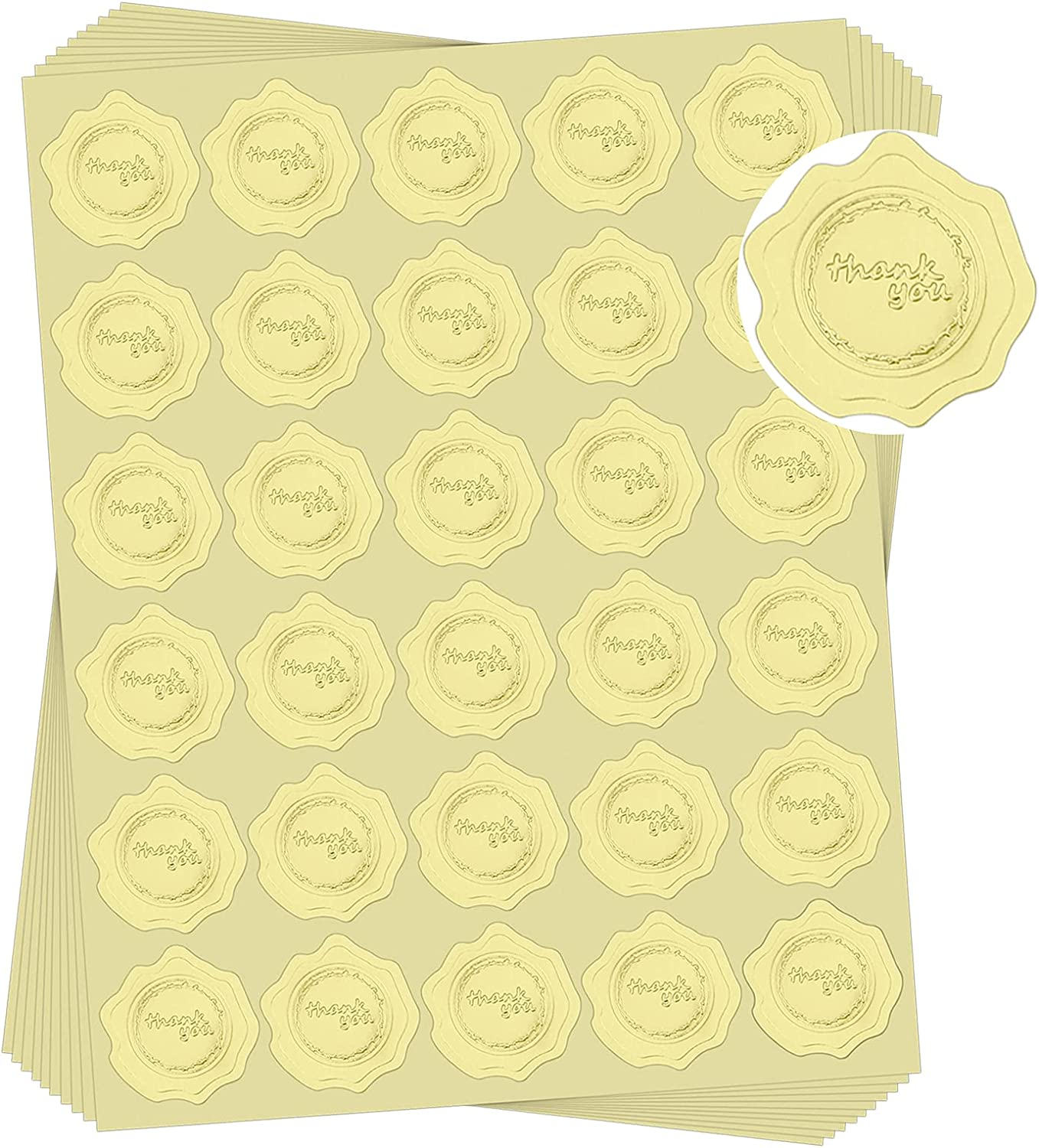 Ndsox 300pcs Thank You Gold Stickers Embossed Envelopes Seals Stickers for Wedding Invitations, Thanksgiving Day, Greeting Cards, Party Favors, Gift Packaging (Gold, Self-Adhesive)