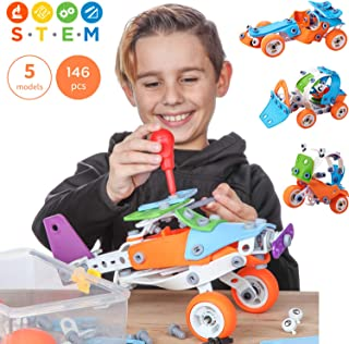 Toy Pal Educational 5-in-1 Build & Play STEM Toys for Boys, Girls Ages 7 8 9 10+ Years Old | 146 Pcs Erector Set with Box