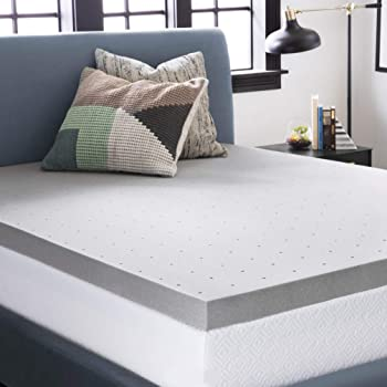 LUCID 3 Inch Bamboo Charcoal Memory Foam Mattress Topper - Queen
